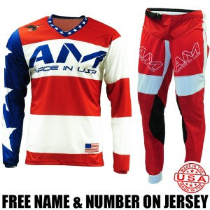 AM Gear Combo: Pro Jersey Stars & Bars & Air Motocross Pants Red/ White